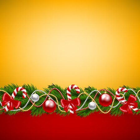 candy cane background: Christmas card with fir-tree decoration on golden background