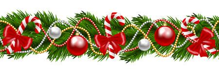 Kerst decoratieve spar krans op wit wordt geïsoleerd Stock Illustratie