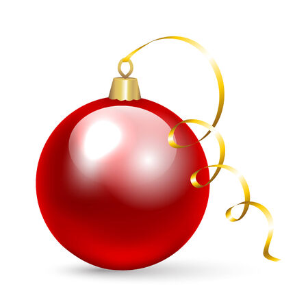 laying: Laying Christmas bauble isolated on white background