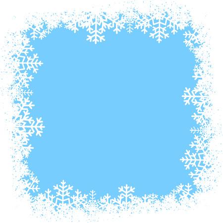 schneeflocke: Weihnachtskarte mit Schneeflocken Rahmen auf blauem Hintergrund