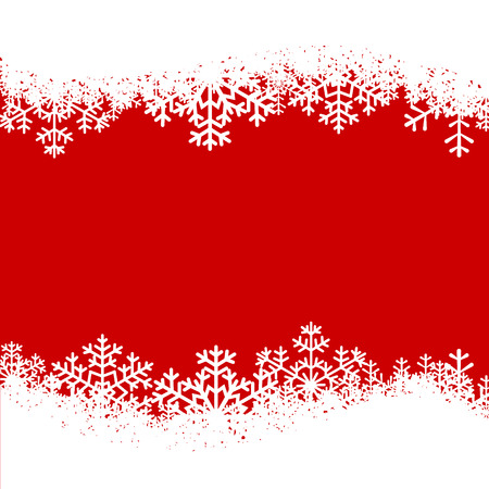 Kerstkaart met sneeuwvlokken grens op rode achtergrond