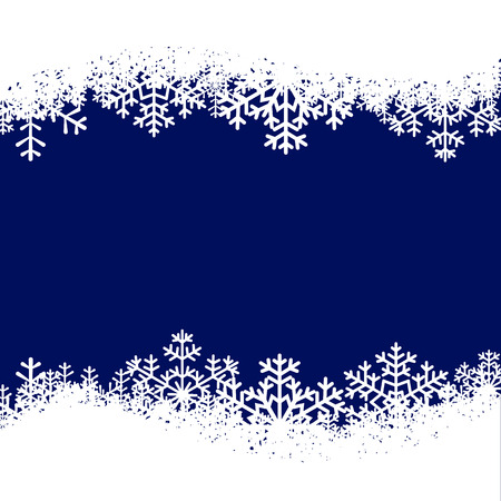 Christmas card with snowflakes border on blue background