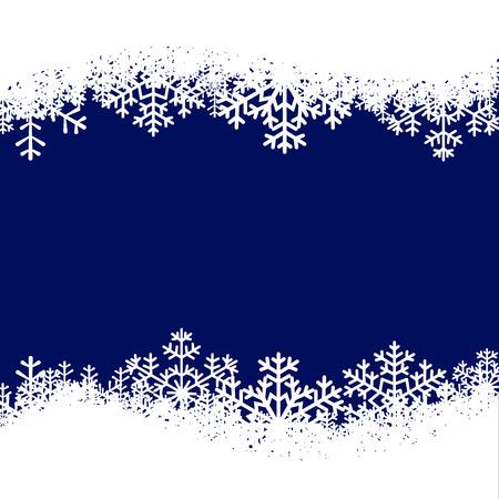 bordes decorativos: Tarjeta de Navidad con copos de nieve frontera sobre fondo azul