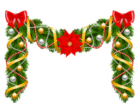Fir-tree decoration with poinsettia for Christmas design