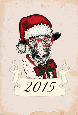 Hand-drawn vintage sheep - symbol of 2015 year Vector