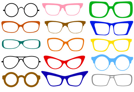 Set of fashionable different modern eye glasses