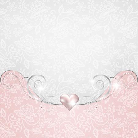 Hintergrund mit Schmuck-Rahmen für Hochzeit oder Valentinsgrußkarte