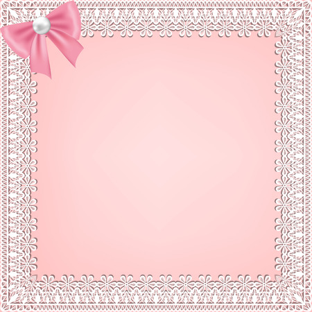Template for wedding, invitation or greeting card with lace fabric background
