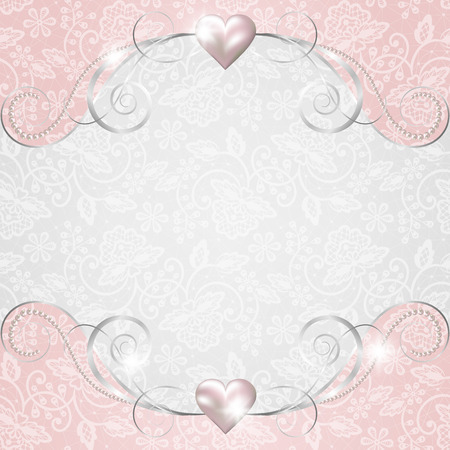 pink swirl: Background with jewelry frame for wedding or Valentines card