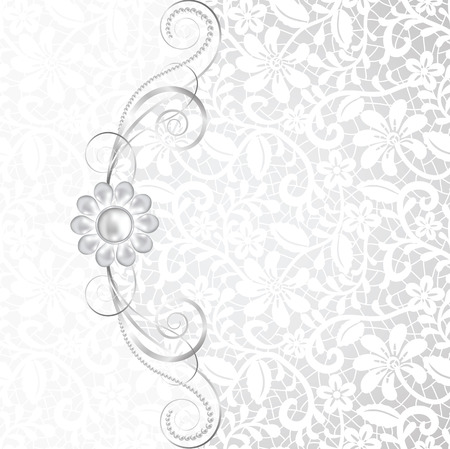 spouse: Jewelry border on white lace background. Invitation card Illustration