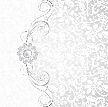 Sieraden grens op wit kant achtergrond. Uitnodiging kaart Stock Illustratie