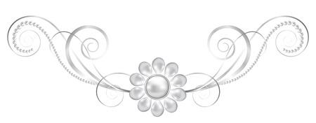 joyas de plata: La joyer�a de plata de la frontera floral aislado en blanco