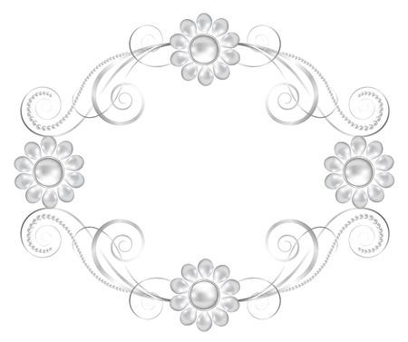 joyas de plata: La joyer�a de plata marco floral aislado en blanco
