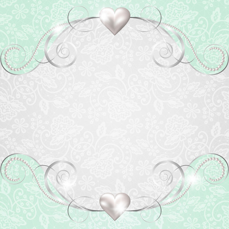 ornate heart: Background with jewelry frame for wedding or Valentines card