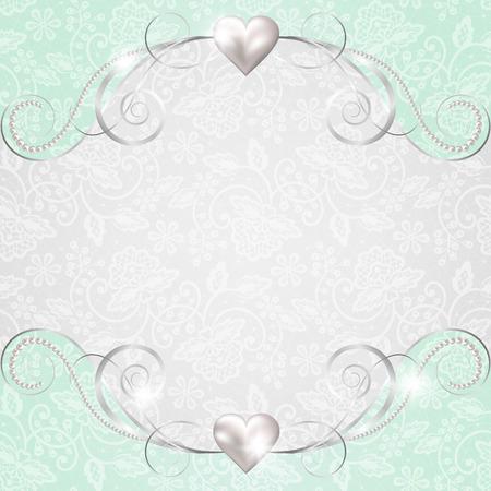 bodas de plata: Fondo con el marco de la joyería para la boda o la tarjeta de San Valentín Vectores