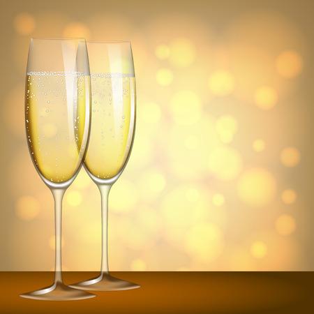 Deux verres de champagne sur fond jaune