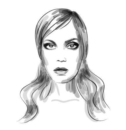 beautiful girl face: Fashion monochrome watercolor illustration of beautiful woman portrait