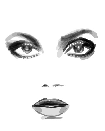 beautiful eyes: Watercolor monochrome fashion illustration of beautiful woman face