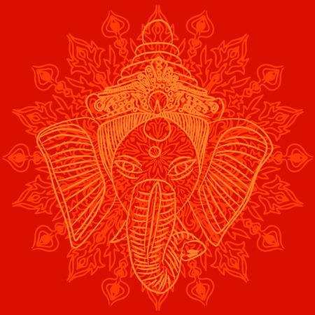 red indian: Indian god Ganesha on red background with pattern
