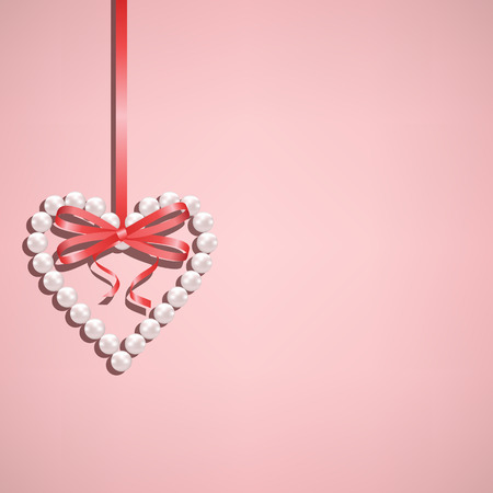 hangs: Pearl heart with bow hangs on red ribbon