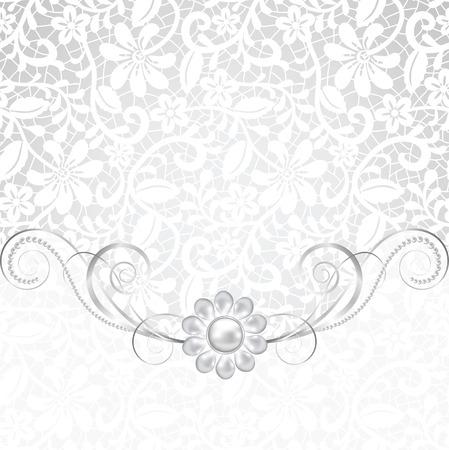 jewerly: Jewelry border on white background. Wedding invitation card Illustration