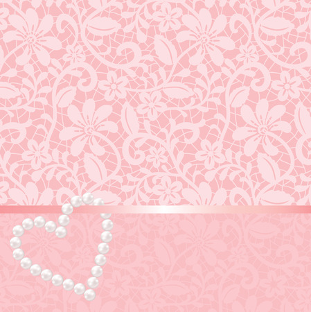 Pink lace background with pearls shaped heart