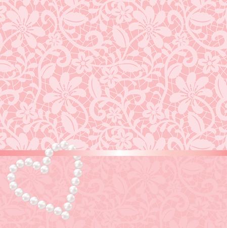 Fond de dentelle rose avec perles en forme de coeur Banque d'images - 35966766