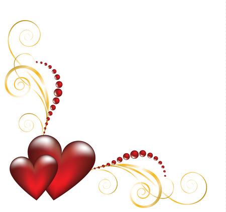Decorative jewelry corner element for wedding or Valentines card