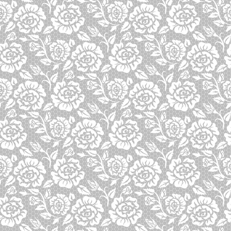 gray pattern: Seamless white lace background with roses pattern
