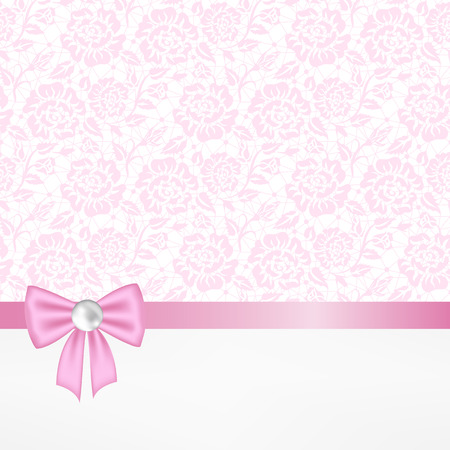 pink bow: Template for wedding, invitation or greeting card with lace fabric background