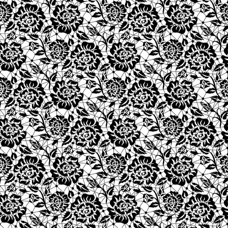 Seamless black lace background with roses pattern Vector