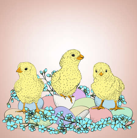 handdrawn: Hand-drawn Easter egg with chickens and flowers Illustration