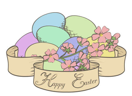 handdrawn: Hand-drawn Easter egg with ribbon and flowers