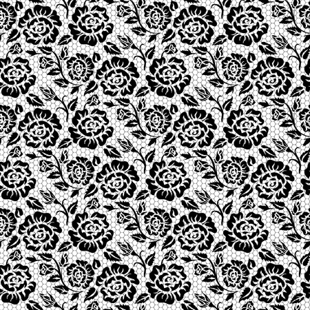 black lace: Seamless black lace background with roses pattern Illustration
