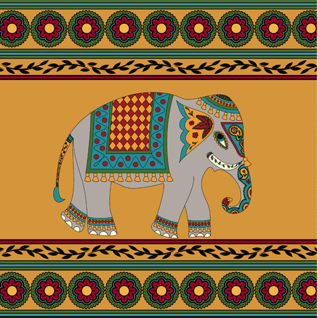indian elephant: Elefante indio sobre fondo amarillo con el patr�n Vectores