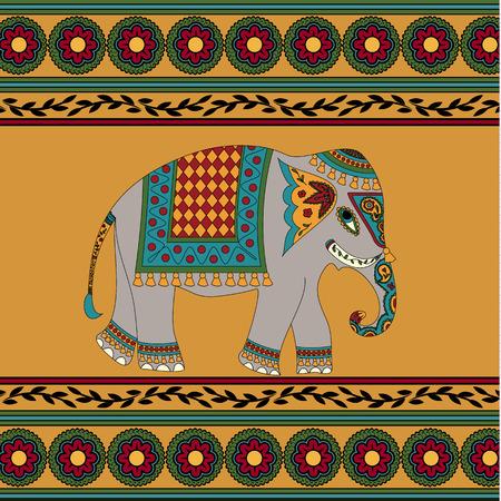 indische muster: Indische Elefanten auf gelbem Hintergrund mit Muster