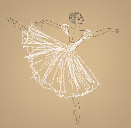 Pencil sketch of dancing ballerina in white dress