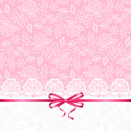 Wedding or baby shower invitation or greeting card with lace on pink background Stock Illustratie