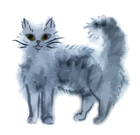 gray cat: Hand-drawn watercolor gray cat isolated on white