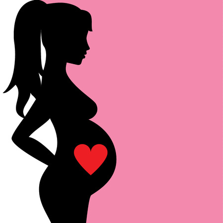 pregnant mom: Background with silhouette of pregnant woman with heart