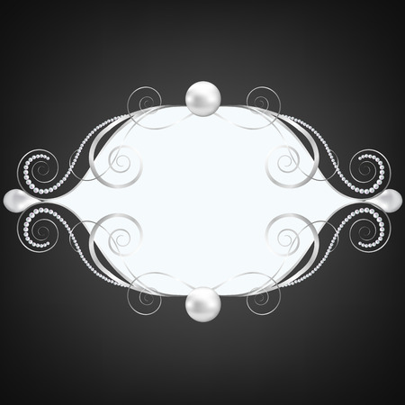 swirly: Black background with silver jewelry swirly frame Illustration