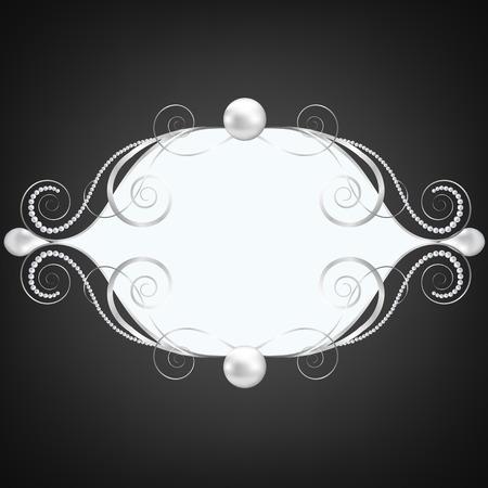 joyas de plata: Fondo negro con la joyer�a de plata del marco swirly Vectores