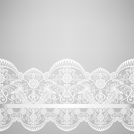 encaje: Invitaci�n de la boda o de la tarjeta de felicitaci�n con la frontera del cord�n Vectores