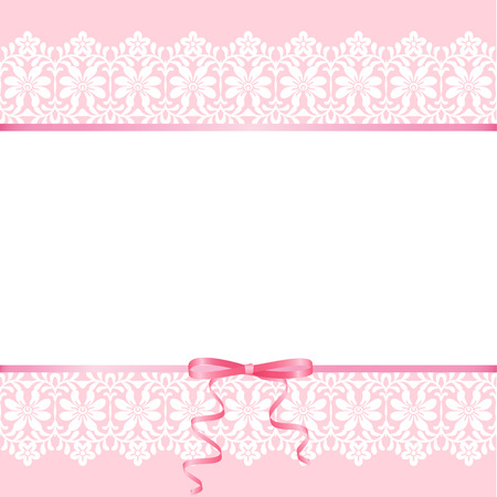 Wedding or baby shower invitation or greeting card with lace on pink background Vectores