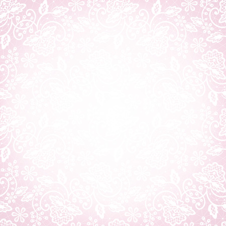 Template for wedding, invitation or greeting card with white lace on pink background