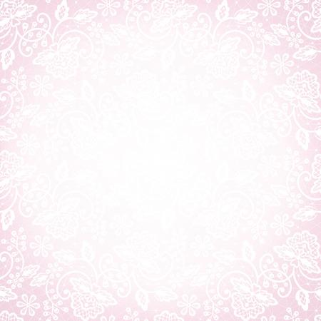 Vorlage für Hochzeit, Einladung oder Grußkarte mit weißer Spitze auf rosa Hintergrund
