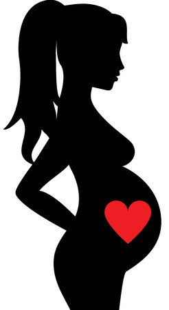 pregnant women: Black silhouette of pregnant woman with heart