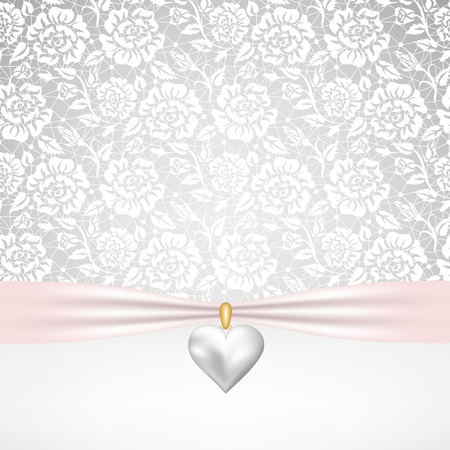Template for wedding, invitation or greeting card with lace fabric background and pearl heart pendant