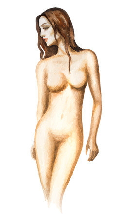 nude young: Watercolor hand-drawn sketch of young beautiful woman