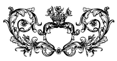 handdrawn: Vintage royal hand-drawn frame isolated on white background